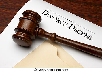 Divorce Decree - Divorce decree, gavel and folder shot on...