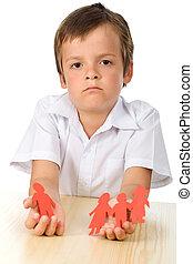 Divorce effect on kids concept with sad boy-focus on child