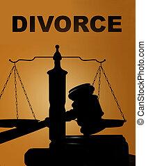 divorce, et, marteau, à, balances