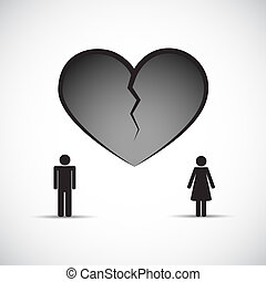 divorce heartache concept broken heart with man and woman