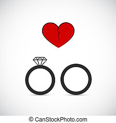 divorce heartache concept with broken heart and with wedding rings