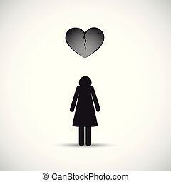 divorce heartache concept with sad woman and broken heart