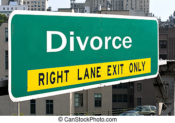 Divorce Highway Sign - A green highway sign with the word...