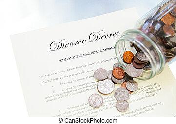 divorce legal document and spilled coin jar