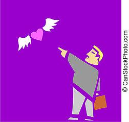 Divorce - Man sends his heart away on wings.