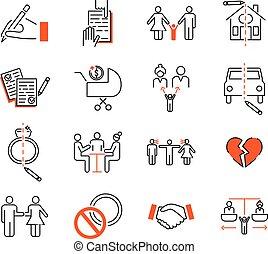 Divorce mediation outline icon collection vector illustration set.