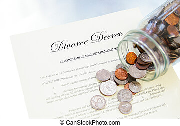 divorce, monnaie, légal, pot, renversé, document