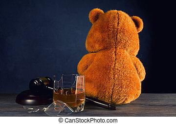 divorce, ou, concept, ours, marteau, cassé, privation, parental, dû, alcoholism., droits, juge, teddy, verre.