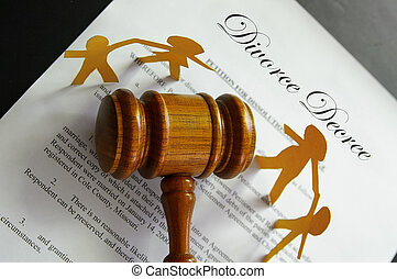 divorce papers and gavel with paper family
