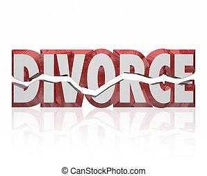 Divorce Red 3d Word Broken Marriage Legal Separation