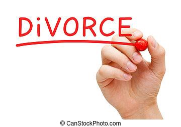 divorce, rouges, marqueur