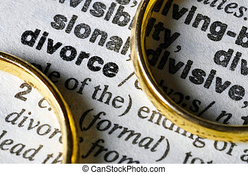 """Two separate wedding rings next to the word """"divorce"""""""