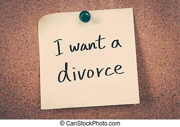 divorce, vouloir