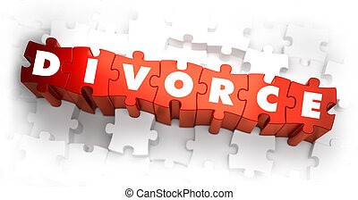 Divorce - White Word on Red Puzzles. 3D Render.