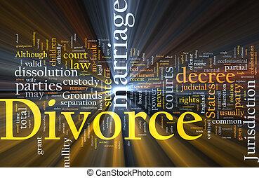 Divorce word cloud glowing