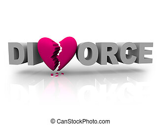 The word divorce with a pink broken heart for the V