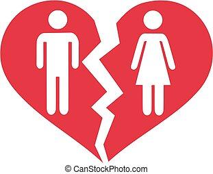 Divorced couple in broken heart