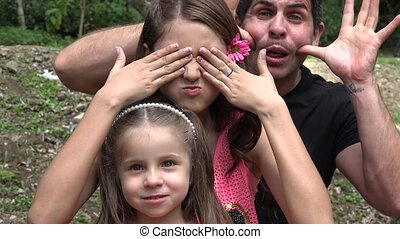 Divorced Father And Daughters Acting Silly