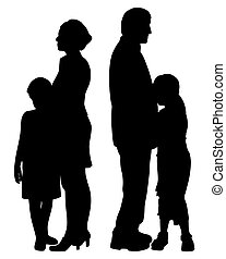 Divorced separated parents with two sad unhappy separated children