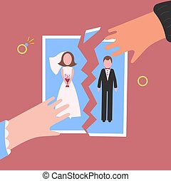Divorcement. Man and womantear apart wedding photo