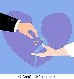 Divorcement of couple. Broken heart, diamond ring