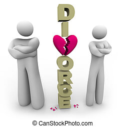 A divorcing couple stands beside the word Divorce with arms crossed