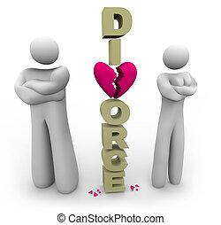 divorcing, párosít, álló, által, szó, elválás
