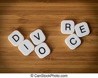 divorcio, concepto, con, dividir, palabra