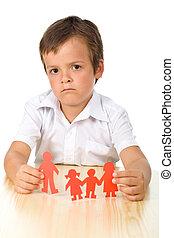divorcio, concepto, con, triste, niño