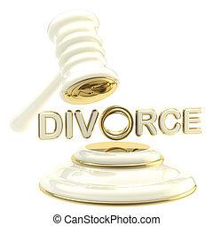 divorcio, debajo, el, juez, martillo, aislado