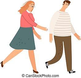 divorcio, hojas, esposa, hombre, familia