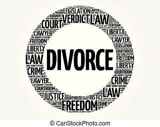 divorcio, palabra, nube