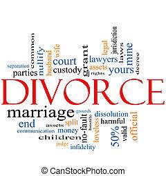divorcio, palabra, nube, concepto