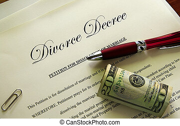 divorcio, papeles, y, efectivo, con, misc, artículos
