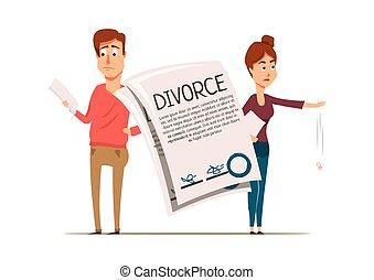 divorcio, pareja, acuerdo, composición
