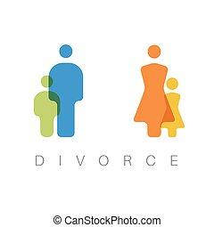 divorzio, concetto, illustrazione