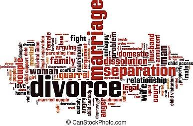 divorzio, parola, nuvola
