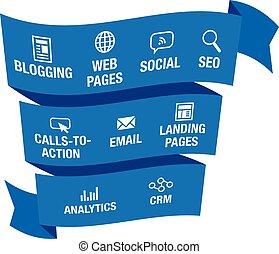 divulgación, tela, email, gráfico, iconos, inbound, mercadotecnia, cta, o, página, aterrizaje, páginas, analytics, vector, llamada, social, blogging, acción, crm