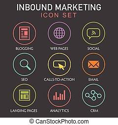 divulgación, tela, email, gráfico, iconos, inbound,...