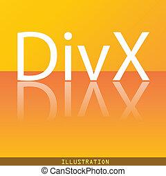 divx, 视频, 格式, 图标, 符号, 套间, 现代, 网络设计, 带, 反映, 同时,, 空间, 为, 你, text., ., raster