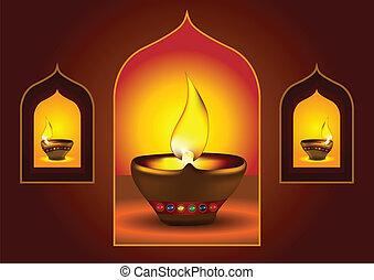 diwali, καμάρα , παράθυρο , diya