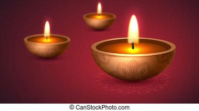 Happy Diwali, festival of lights. Burning diya lamps. Diwali celebration. 4K video animation.