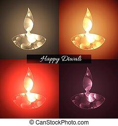 Diwali background - Vector background of shiny diwali diya