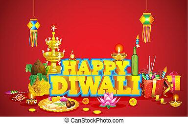 Diwali Background - illustration of decorated diwali diya...