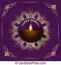 Diwali background with decorative border 2809
