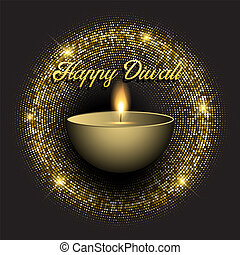 Diwali background with gold glittery lights