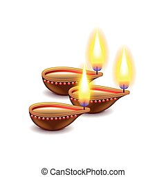 Diwali candles isolated on white photo-realistic vector illustration