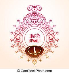diwali, créatif, conception, fond, heureux