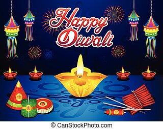 diwali, créatif, résumé, background.eps, artistique