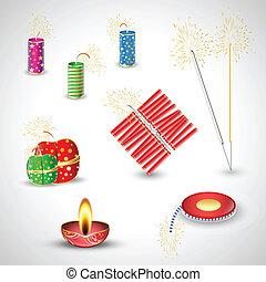 Diwali Crackers Vectors - Creative Abstract Conceptual...